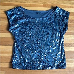 Slate Off the Shoulder Sequin Top